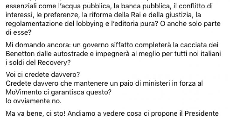 """Toninelli: """"Ma sì andiamo da Draghi"""" e Riello gli scrive: """"Caro Senatore…"""""""